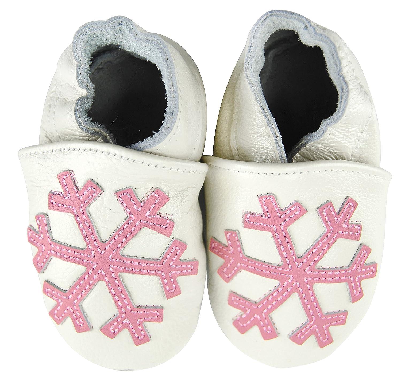 Axy bébé chaussons chaussures en cuir Chaussures bébé enfant Jardin Chaussures–Flocons de neige