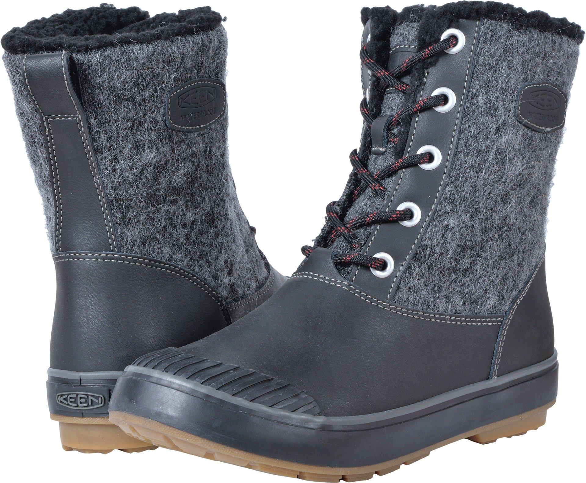 KEEN Women's Elsa WP-w Snow Boot, Black Wool, 9 M US