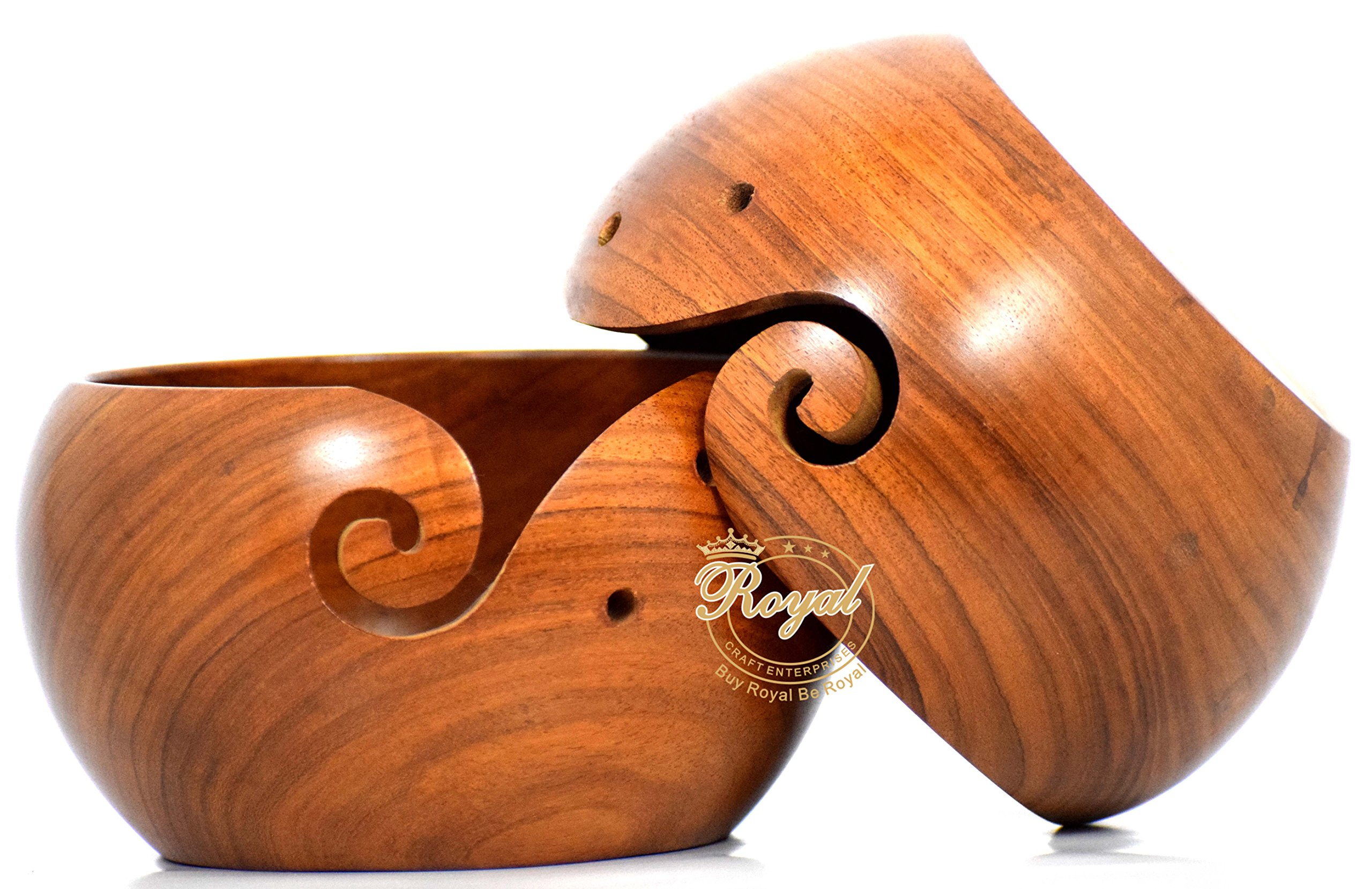 Rosewood crarfted wooden yarn storage bowl knitting crochet accessories Royal Craft Enterprises (7 X 4 inch)