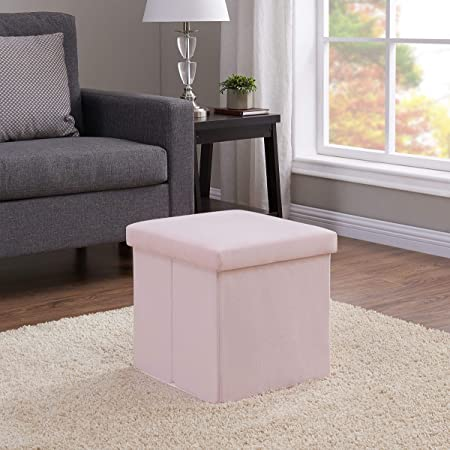 Mainstay Collapsible Storage Ottoman, Lily Pink