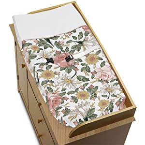 Sweet Jojo Designs Vintage Floral Boho Girl Baby Nursery Changing Pad Cover - Blush Pink, Yellow, Green and White Shabby Chic Rose Flower Farmhouse