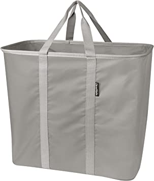 Amazon Com Clevermade Collapsible Laundry Tote Large Foldable Clothes Hamper Bag Laundrycaddy Carryall Xl Pop Up Storage Basket With Handles Grey Home Improvement