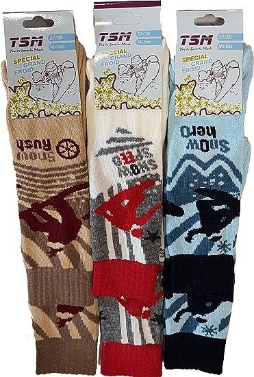 Royaume-Uni disponibilité ed3eb caec4 SOCKS Mi bas ski enfant par 6 avec laine spécial grand froid ...