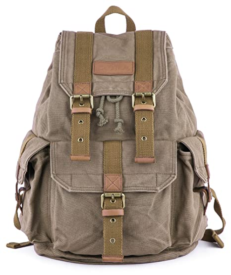 4770fd5c6 Gootium 21101 Specially High Density Thick Canvas Backpack Rucksack Amry  Green S: Amazon.in: Bags, Wallets & Luggage