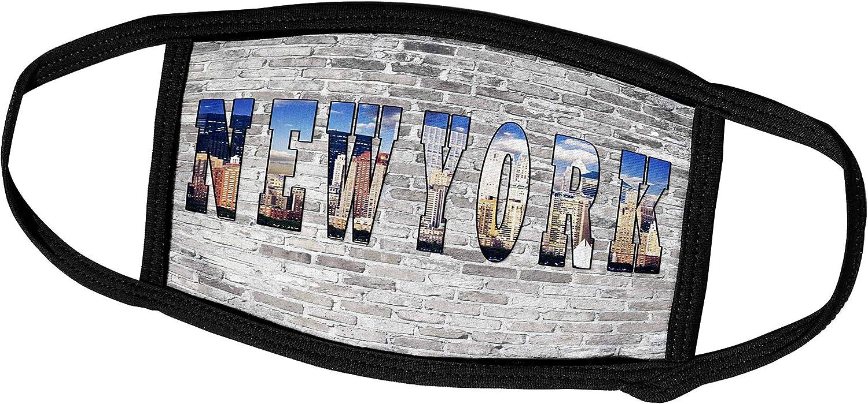 3dRose RinaPiro - Cities Around The World - New York. City That Never Sleeps. Brick Wall. - Face Masks (fm_261450_1)