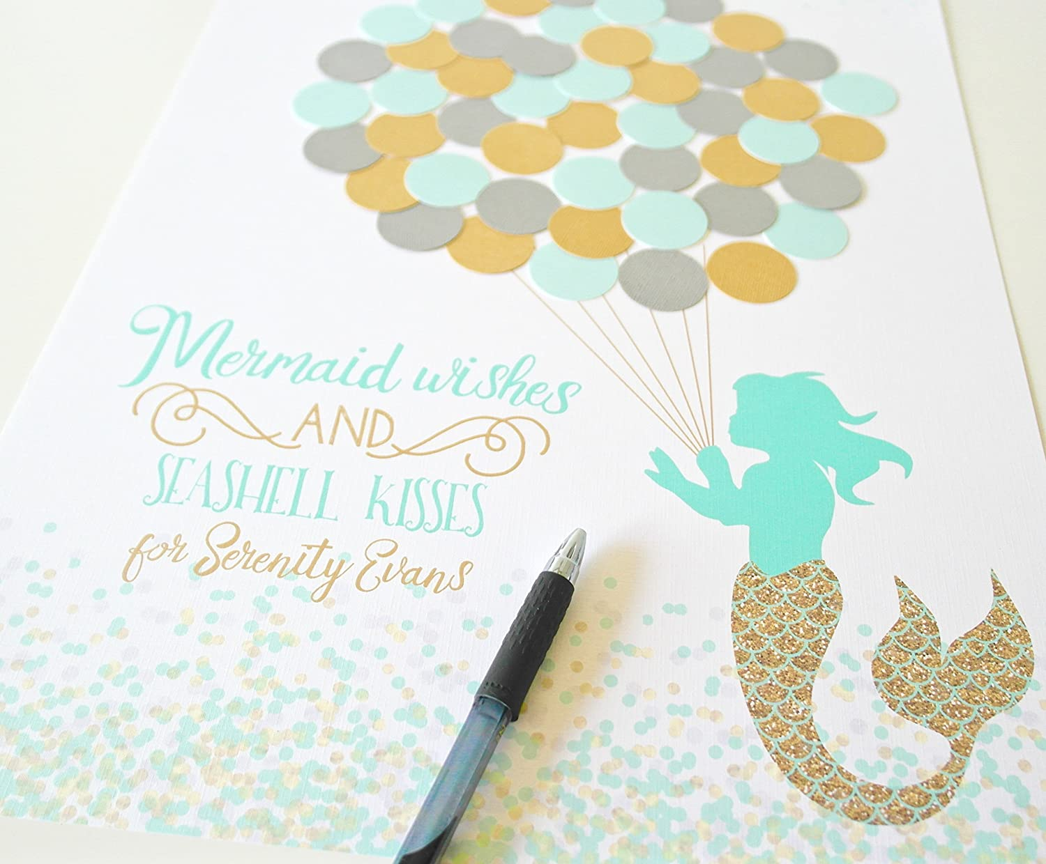 Mermaid Baby Shower Guest Book Alternative Custom Colors Unique Decor For Girl With Balloons