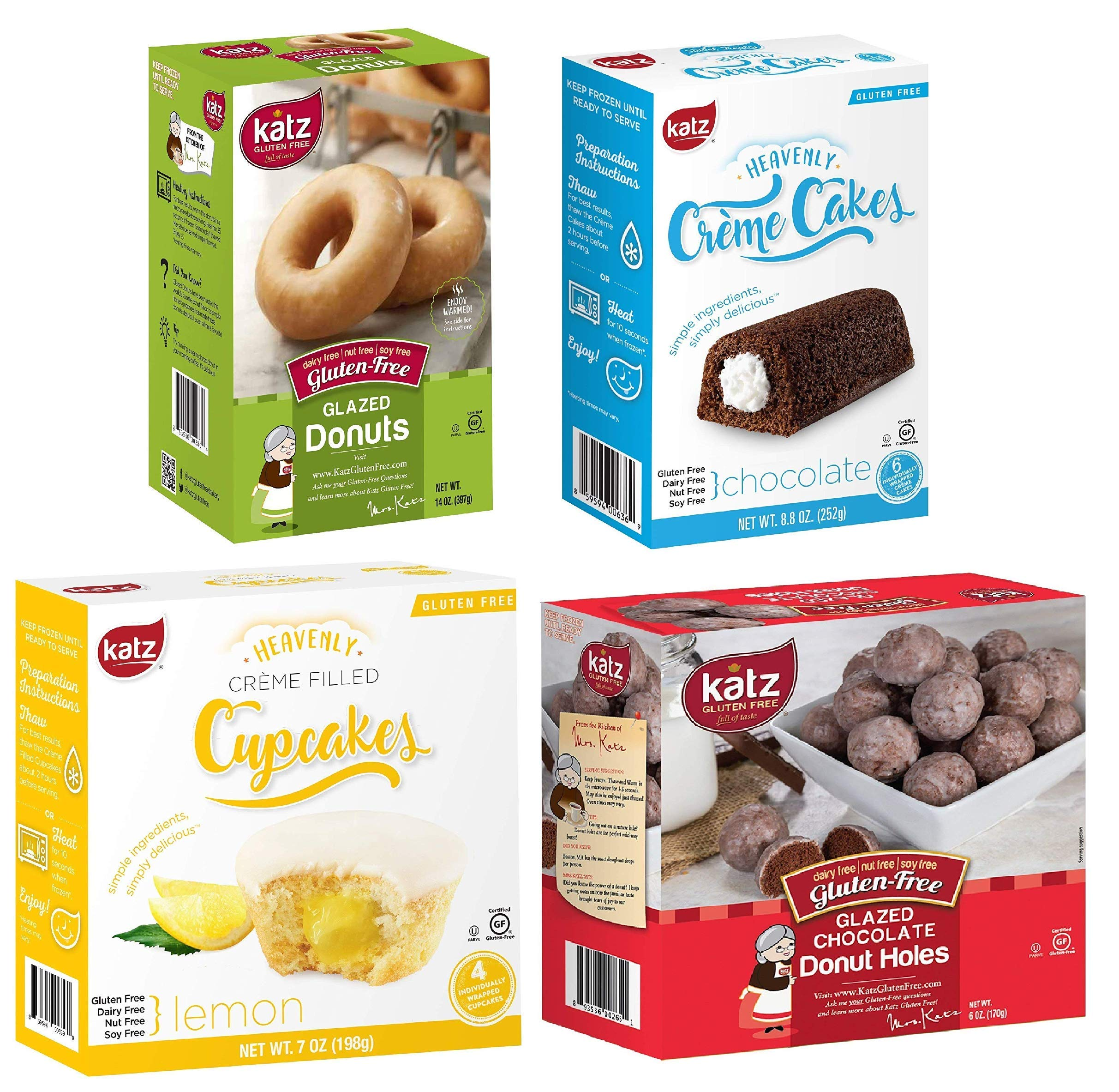 Katz Gluten Free Snacks Top 4 Sellers | Gluten Free, Dairy Free, Soy Free, Nut Free | Glazed Donut, Chocolate Creme Cake, Lemon Creme Cupcake, Glazed Chocolate Donut Holes (1 Pack of each, 4 Total) by Katz Gluten Free