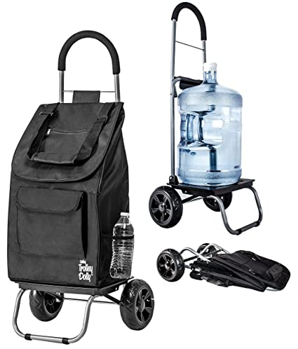 amazon com trolley dolly black shopping grocery foldable cart