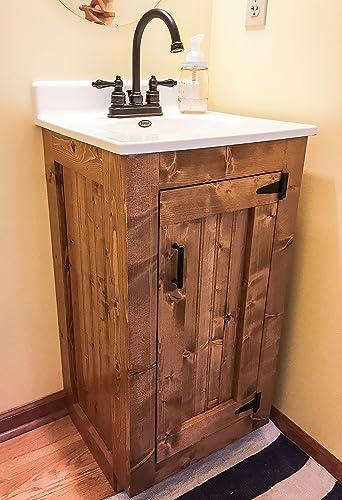 Amazon Com Bathroom Vanity Rustic Wood Cabinet With New England