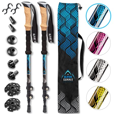 Alpine Summit Hiking Trekking Poles with Anti-Shock Tips, Walking Sticks with Strong and Lightweight 7075 Aluminum and Cork Grips – Enjoy The Great Outdoors