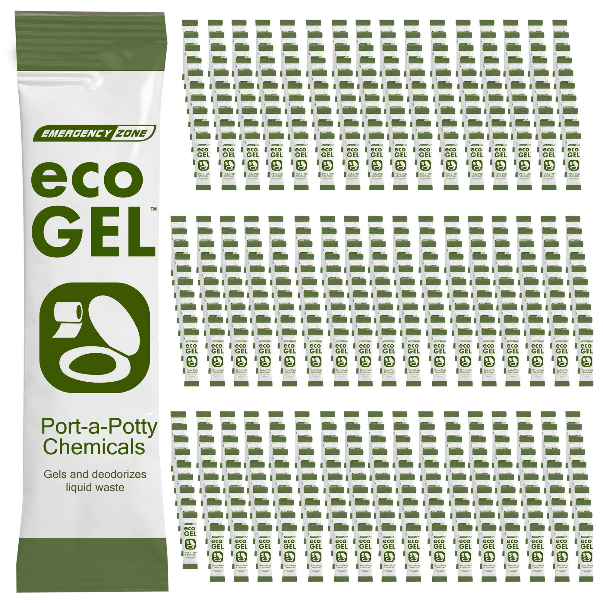 Eco Gel Port-A-Potty and Emergency Toilet Chemicals, Eco-Friendly Liquid Waste Gelling and Deodorizing Powder. Available in Single, 2, 3, 4, 30, and Case Packs (Bulk 500 Stick Case)