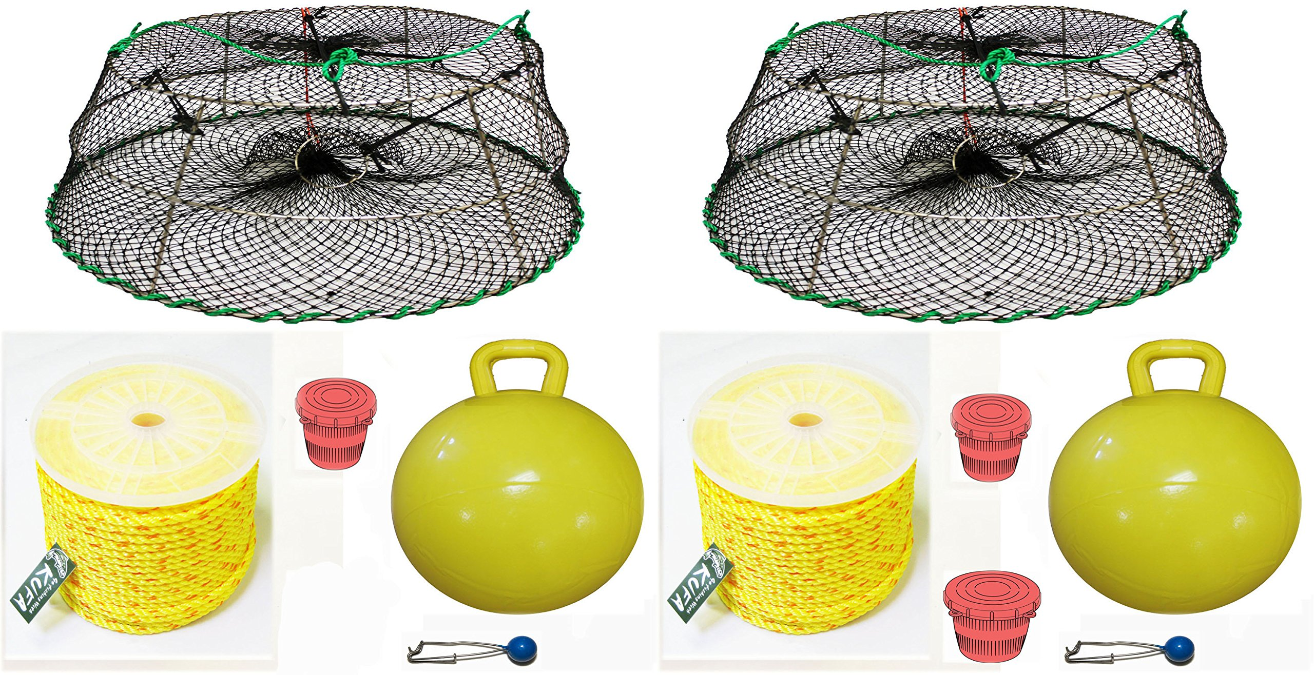 2-Pack of KUFA Sports Tower Style Prawn trap with 400' rope, Yellow float and Vented Bait Jar combo (CT77+PAP5)X2