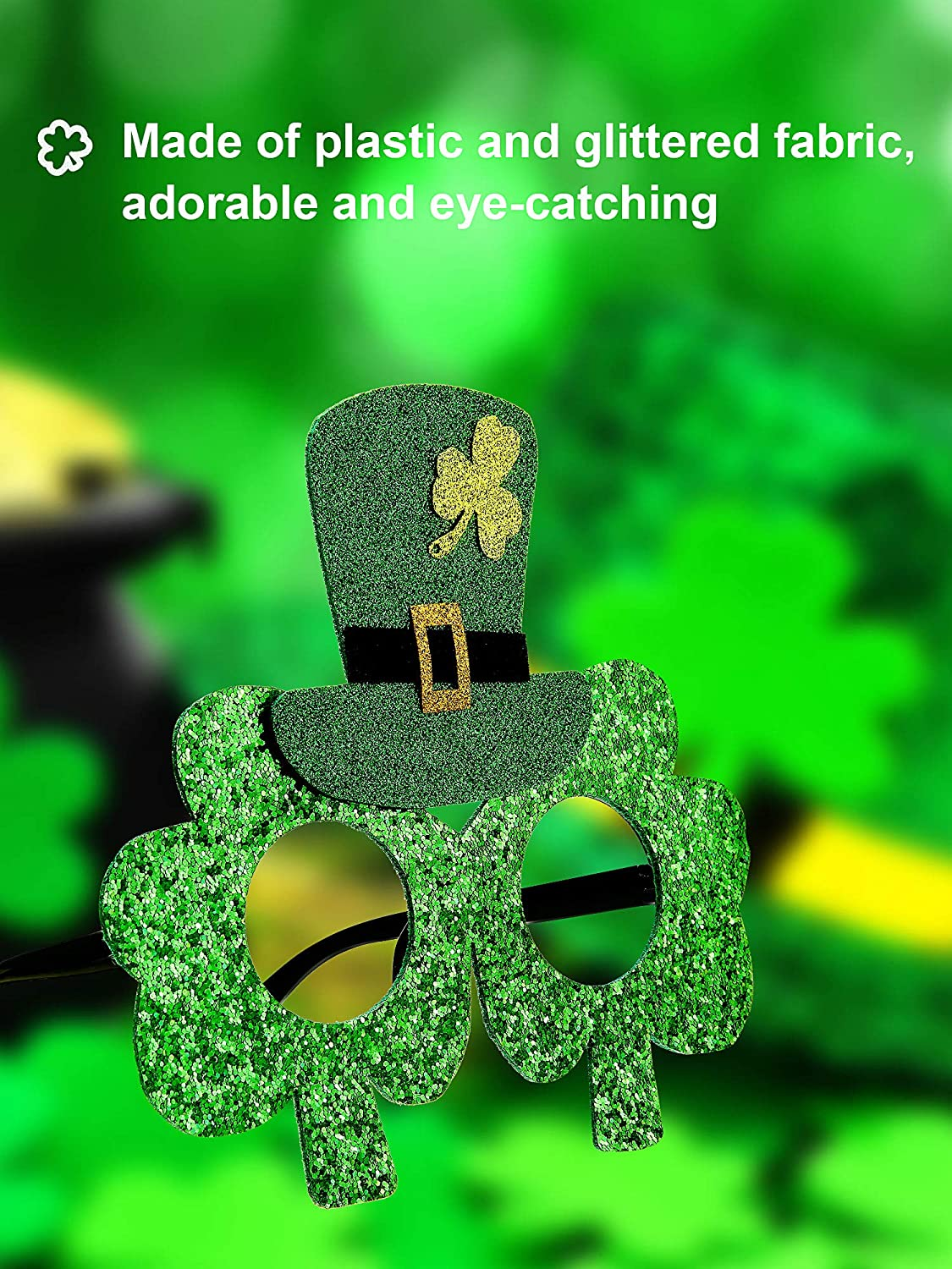 Patrick/'s Day Costume Party Accessories 8 Pairs St Patrick/'s Day Shamrock Glasses Irish Eyeglasses Green Frames Clover Glasses St