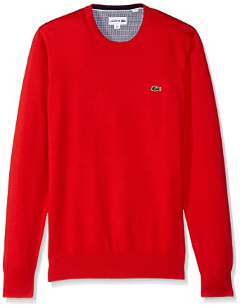 Lacoste Men's Crewneck Cotton Jersey Sweater With Green Croc at ...