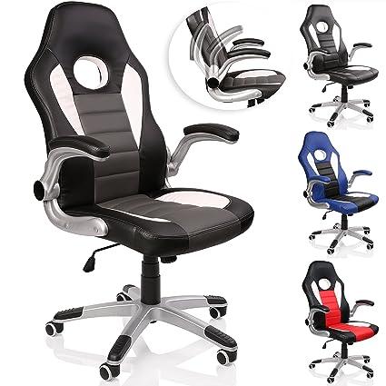 TRESKO® Silla de oficina Racing Gaming giratoria, escritorio ordenador, 4 colores diferentes, reposabrazos acolchados y regulables, mecanismo de ...