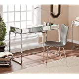 Southern Enterprises Dana Mirrored Desk with Drawer in Chrome
