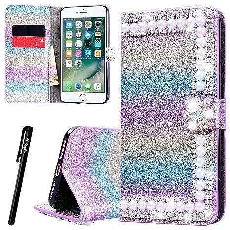 df354efec7b WE LOVE CASE Funda iPhone 7 Plus/iPhone 8 Plus, Piel y Tipo Cartera Carcasa  Funda ...