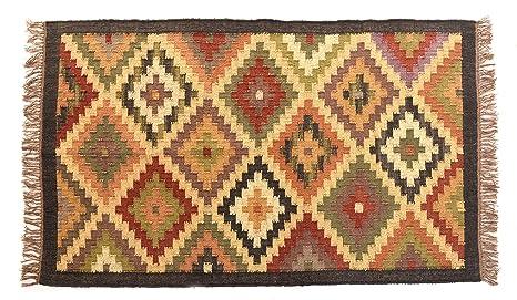 Tappeti In Tessuto Naturale : Etnico indiano kilim tappeto juta naturale fatto a mano