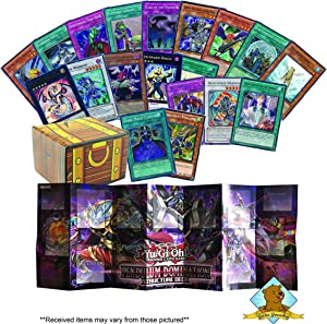 Yugioh Lot of 100 Cards - 90 Commons - 2 Secrets - 3 Rares - 5 Holo Super/Ultra Rares - 1 Playmat! Includes Golden Groundhog Treasure Chest Storage Box!