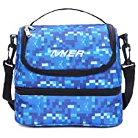 MIER 2 Compartment Insulated Lunch Bag Cooler Lunch Box Tote for Kids, Girls, Women