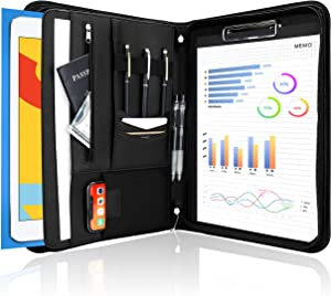 ProCase Portfolio Binder, Leather Padfolio File Folder Zipper Notepad Business Legal Document Holder with Tablet Sleeve, Phone Pouch, Card Organizer, Writing Pad -Black