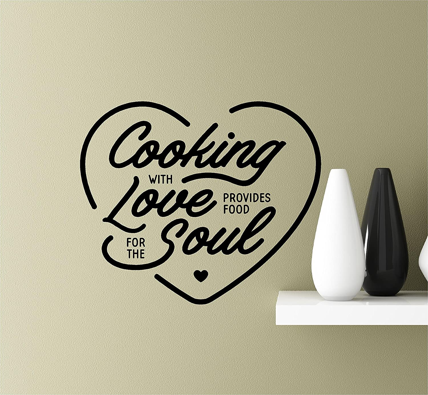 Southern Sticker Company Cooking with Love Provides Food for The Soul Heart Vinyl Wall Art Inspirational Quotes Decal Sticke