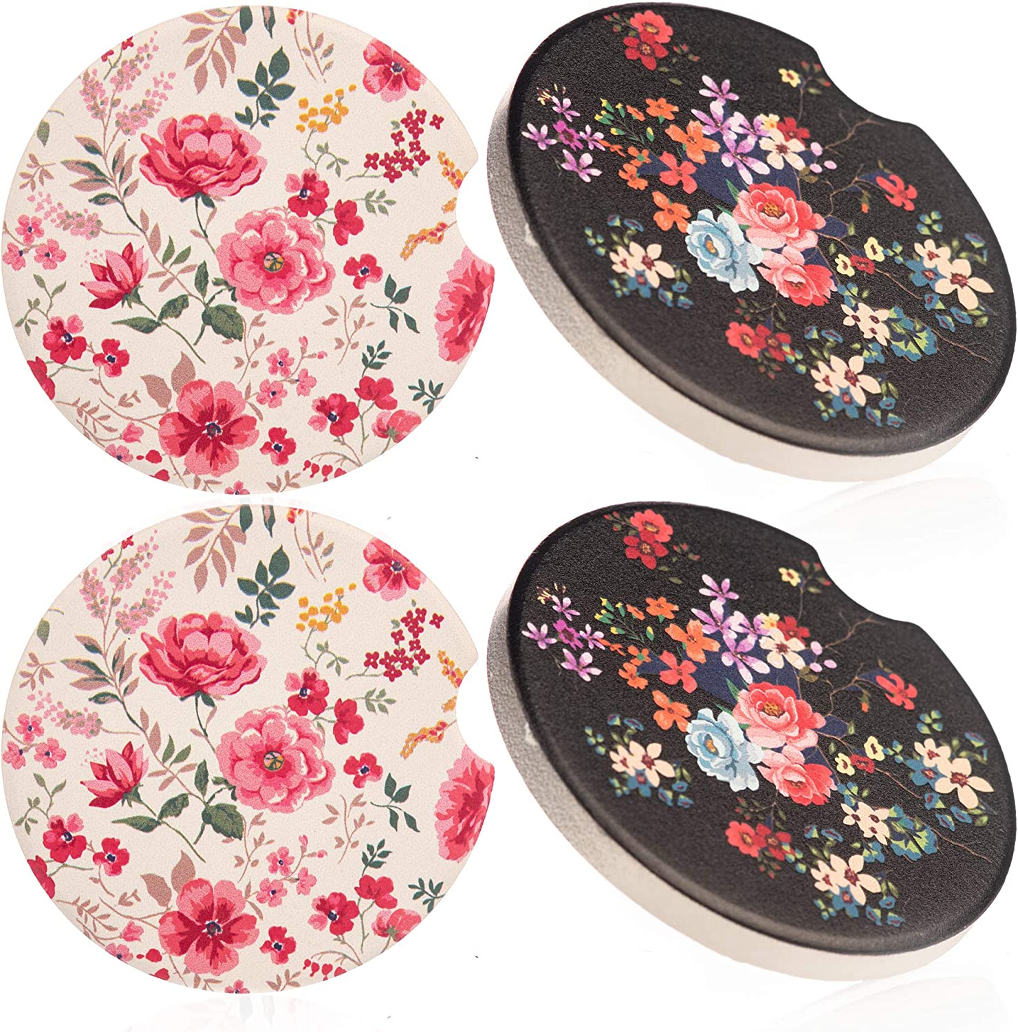 Amazon Com Kitchemy 4 Car Coasters Cup Holders Absorbent 2 Cupholder Ceramic Drink Coaster For Women Made Of Black Stone Cute Mandala Marble Stoneware Perfect For Suv Accessories Or Any Vehicle