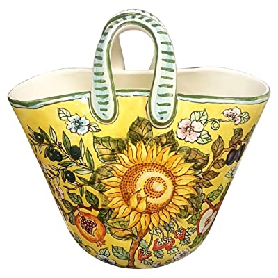 CERAMICHE D'ARTE PARRINI - Italian Ceramic Art Pottery Bag Basket Planter Flowerpot Hand Painted Decorated Sunflower Made in ITALY Tuscan