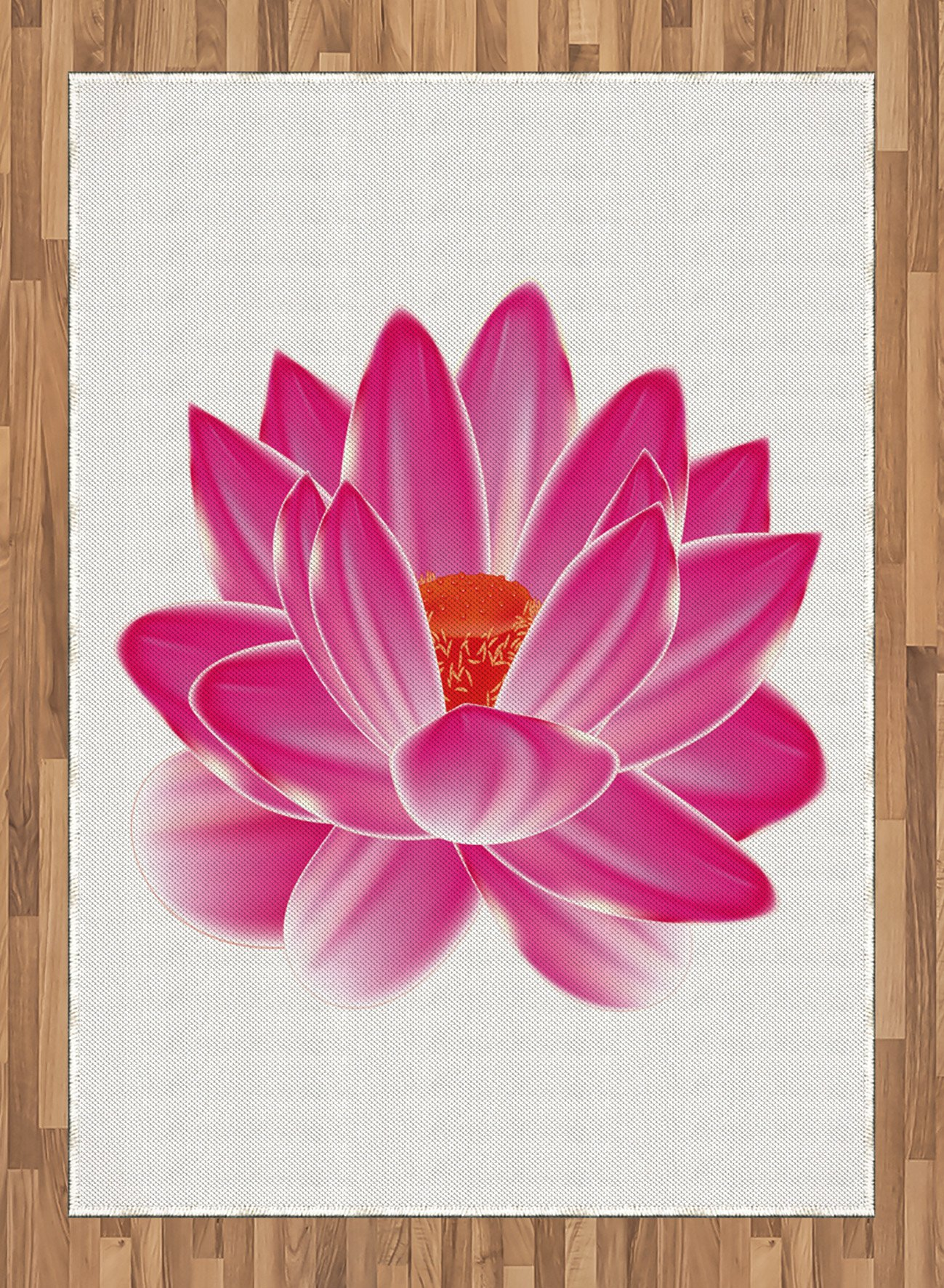 Lotus Area Rug by Lunarable, Vibrant Lotus Flower Pattern Spa Zen Yoga Asian Balance Energy Lifestyle Artsy Image, Flat Woven Accent Rug for Living Room Bedroom Dining Room, 5.2 x 7.5 FT, Magenta Red
