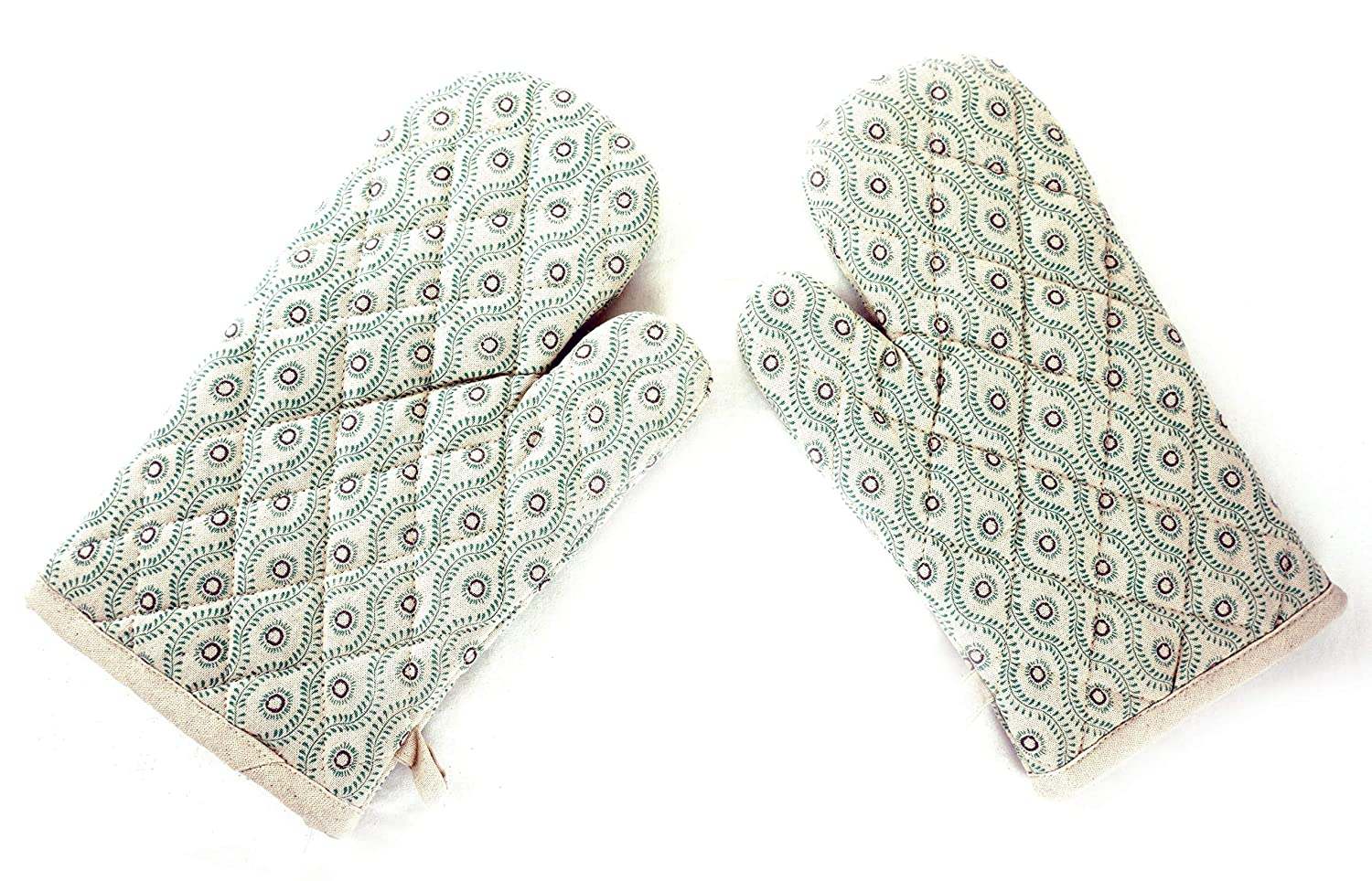 Creative Co-op Floral Leaves Mint Green Quilted Oven Mitts - Set of 2