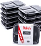 Paksh Novelty Meal Prep Lunch Containers 3-Compartment with Super Easy Open Lids - BPA-Free, Reusable, Microwavable - Bento Box Food Containers for Portion Control, and Leftovers (10 Pack)