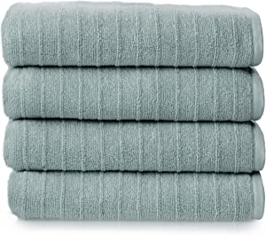 Welhome James 100% Cotton 4 Piece Bath Towels | Mineral Blue | Stripe Textured | Supersoft & Durable | Highly Absorbent & Quick Dry | Ideal for Everyday Use | 450 GSM | Machine Washable