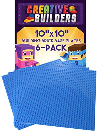 Creative Builders, Set of 6 Blue Baseplates, Extra Large 10X10 inch, LEGO  compatible