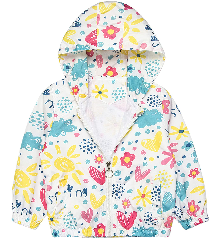 POBIDOBY Girls Flowers Lightweight Jacket Outwear Dustcoat Coat Outfits Windbreakers Raincoats