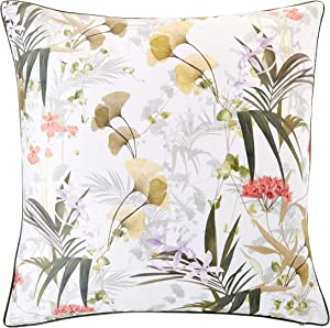 Ted Baker Highland Cotton Throw Pillow, Flower Design, 20ʺW x 20ʺL, Square, White