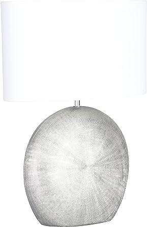 WOFI Lámpara de Mesa E27, 60 W, Plata, 37 x 28 x 53 cm: Amazon.es ...
