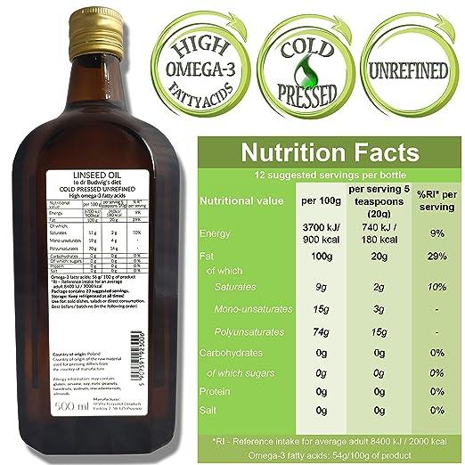 OlVita: Aceite de semilla de lino virgen - Aceite de linaza prensado en frío - Puro crudo natural sin pesticidas - Dieta del Dr. Budwig suplemento ...