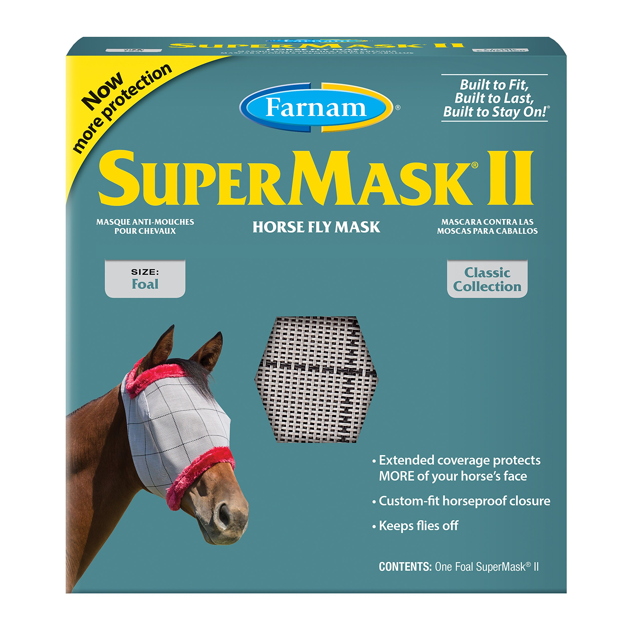 Farnam SuperMask Classic Horse Fly Mask, Foal size, Assorted