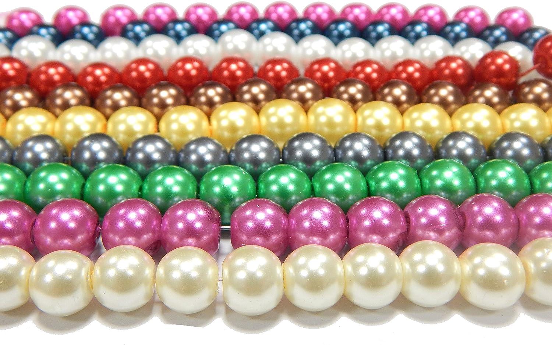 Glaswachsperlen 4mm 6mm 8mm Perlenset Schmuckherstellung 10 Stränge Grosshandel