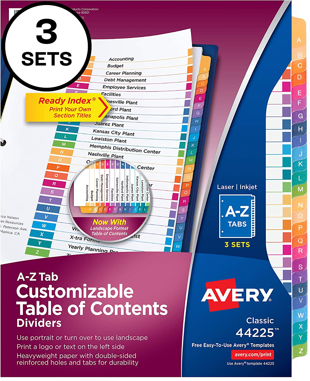 Avery A-Z Tab Dividers for 3 Ring Binders, Customizable Table of Contents, Multicolor Tabs, 3 Sets (44225) : Office Products