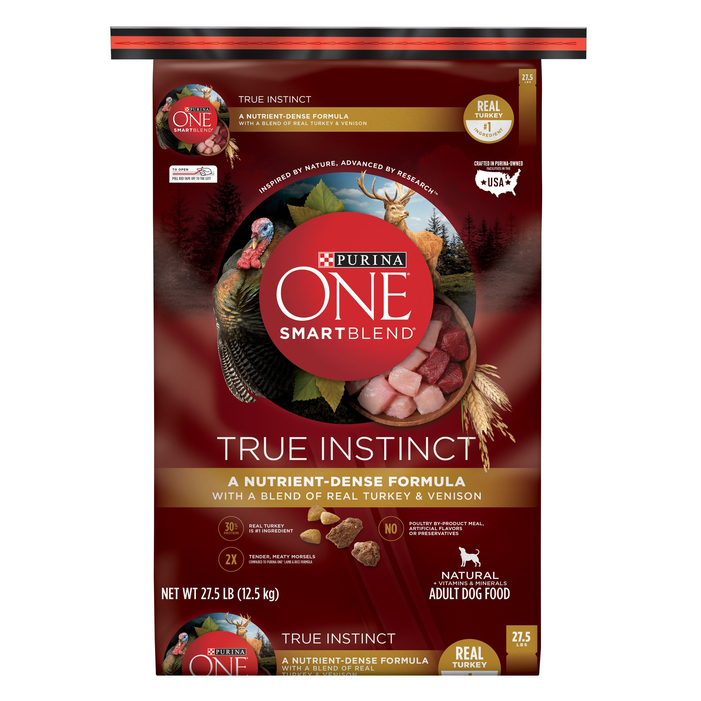 Purina ONE SmartBlend True Instinct Natural With Real Turkey & Venison Adult Dry Dog Food - 27.5 lb. Bag