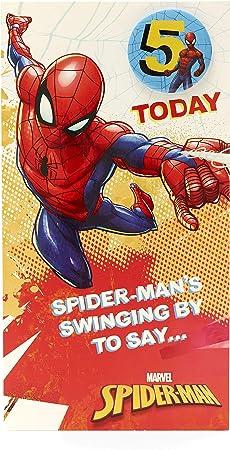 Amazon.com: Tarjeta de cumpleaños con insignia de Spiderman ...
