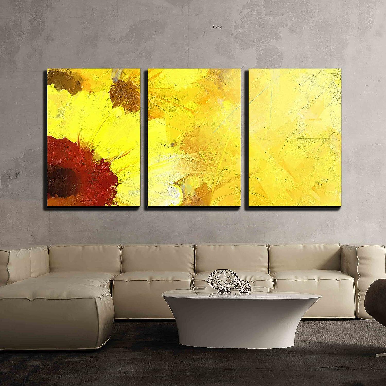 Oil Painting Golden Sunflower Background x3 Panels - Canvas Art | Wall26