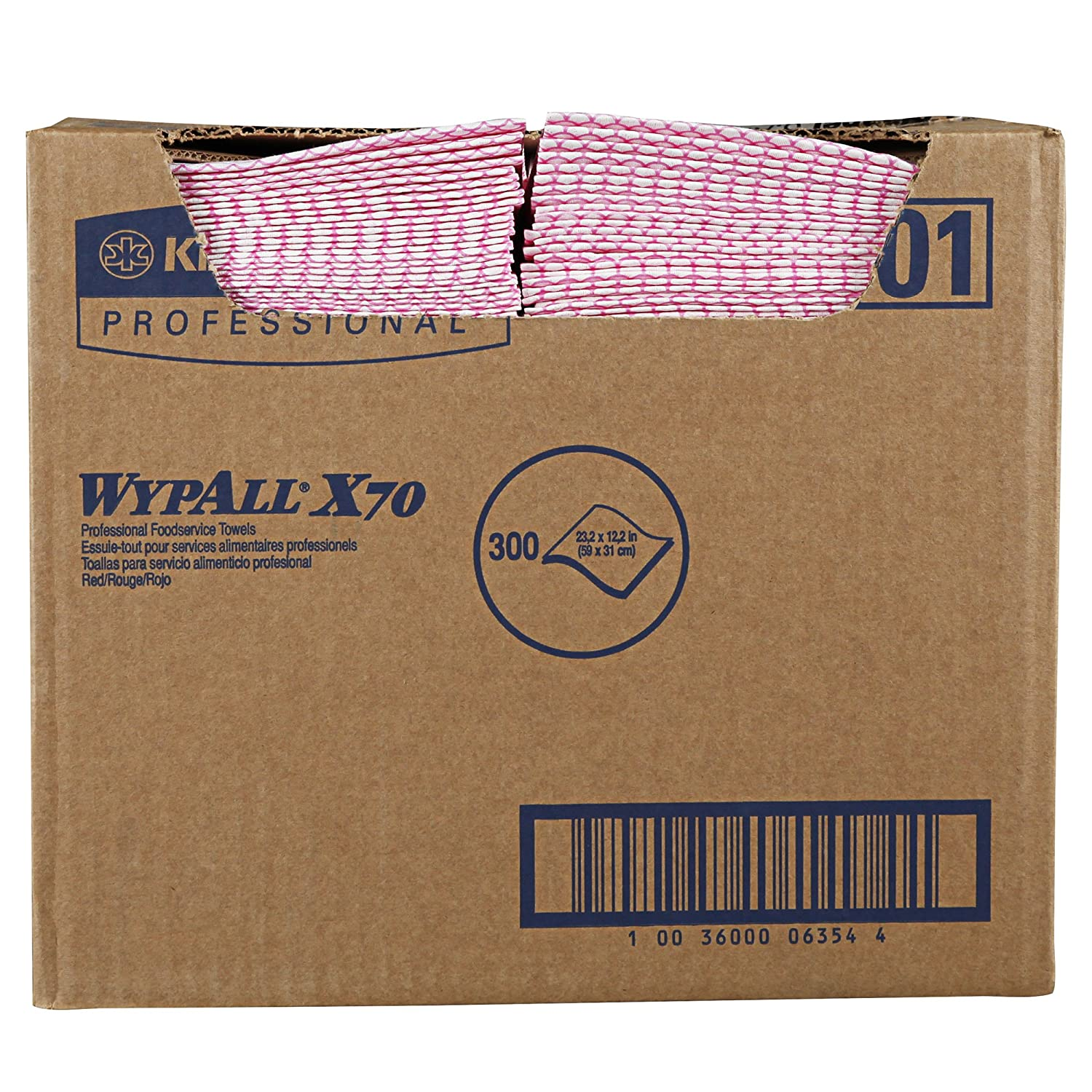 WypAll 06354 X70 Wipers 12 1 2 x 23 1 2 Red Box of 300