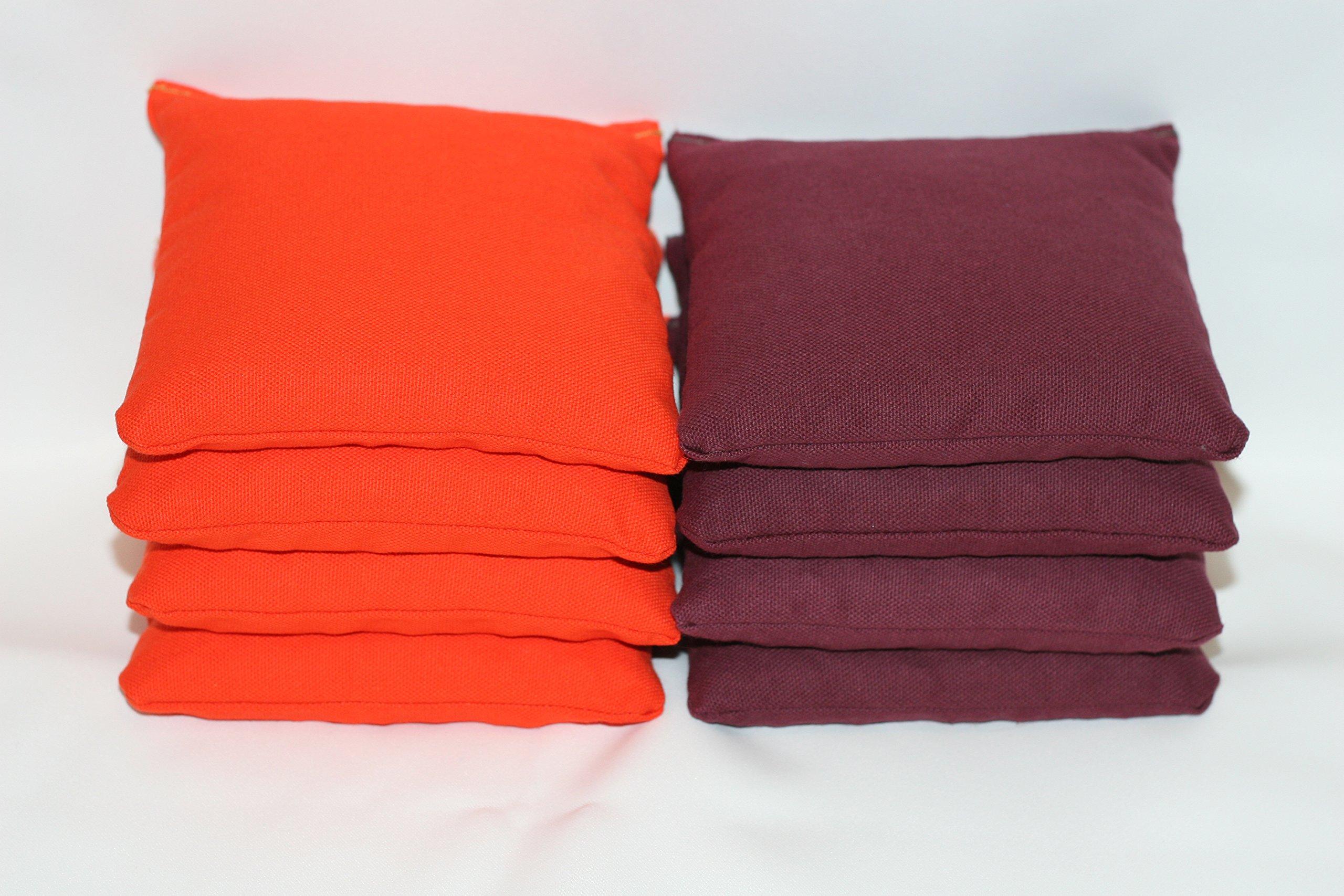 Free Donkey Sports ACA Regulation Cornhole Bags (Set of 8) (Burgundy and Orange) by Free Donkey Sports