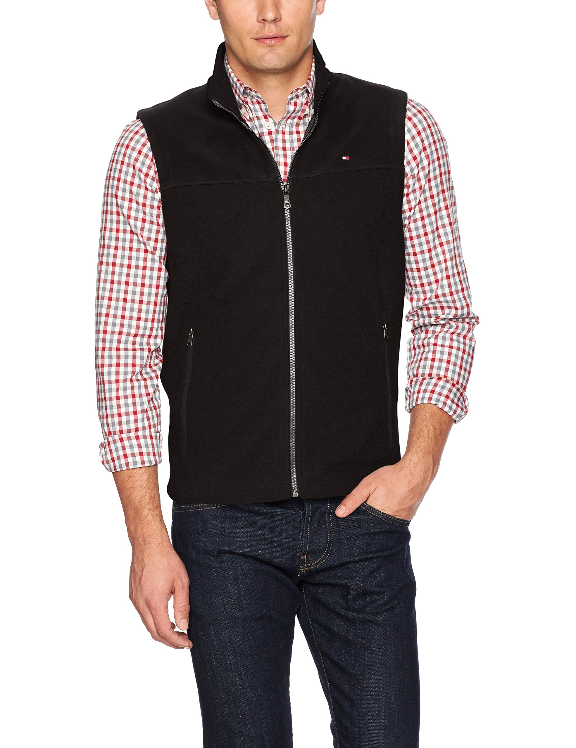 Tommy Hilfiger Men's Polar Fleece Vest, Black, Medium by Tommy Hilfiger