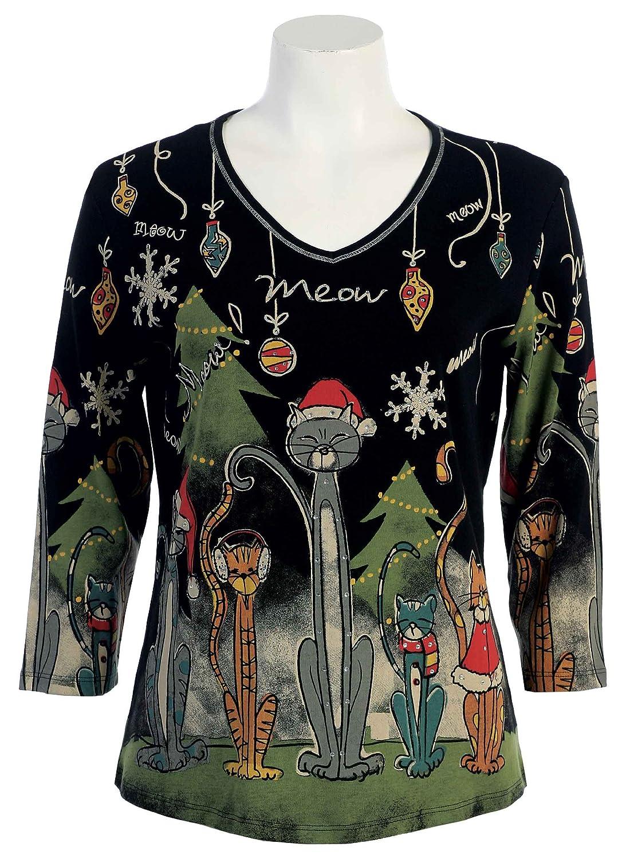 Black xmas t shirt - Jess N Jane Meow Christmas Dressy Ladies Rhinestone Bling Tee Shirt Top 2x Black At Amazon Women S Clothing Store Fashion T Shirts