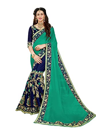 b02b47b0cb Manohari Women's Georgette Saree with Blouse Piece(MN350_Turquoise_Free  Size)
