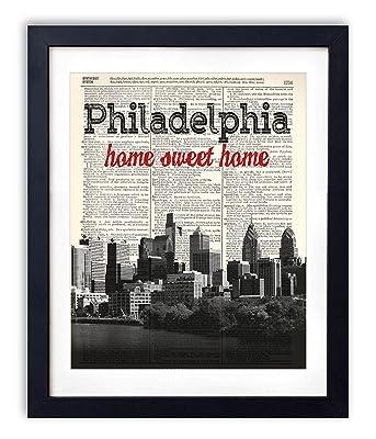 Philadelphia Home Sweet Home Vintage Upcycled Dictionary Art Print 8x10