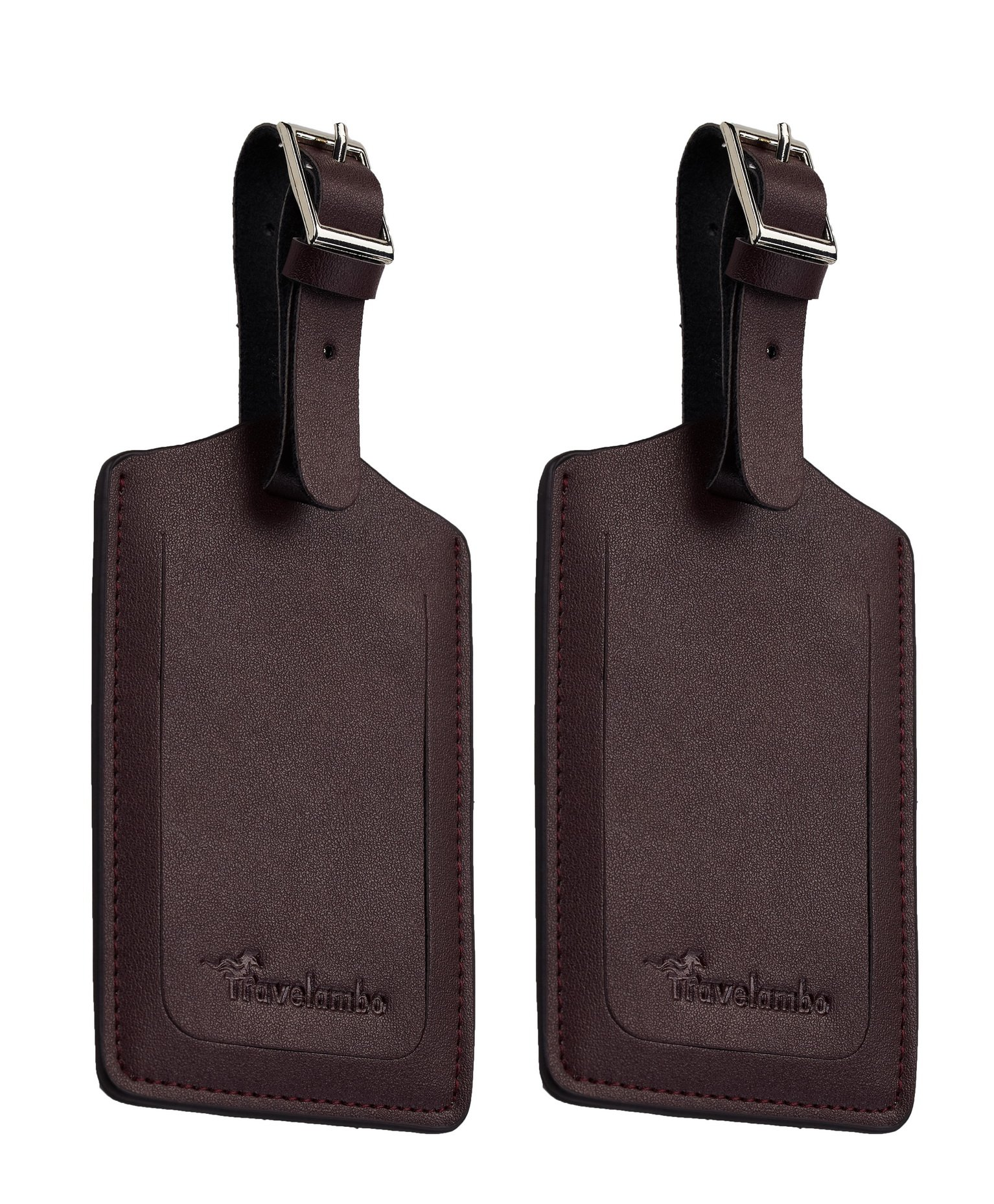Travelambo Leather Luggage Bag Tags (Coffee 2385 Red Coal Coffee) by Travelambo (Image #3)